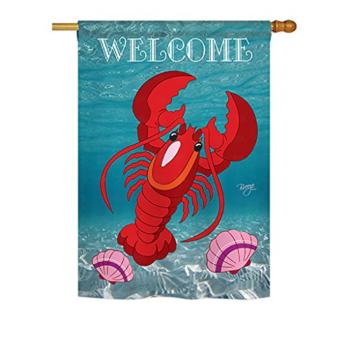 Breeze Decor H107026 Lobster Decorative Vertical Sleeve House Flag, 28