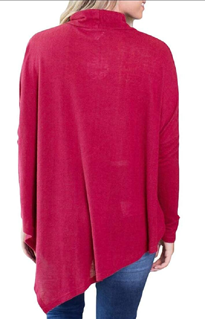 Gocgt Women Casual Flared Hankerchief Solid Turtleneck Long Sleeve Tunic