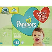 Pampers Baby Wipes Complete Clean Unscented 6X Pop-Top Packs, 432 Count
