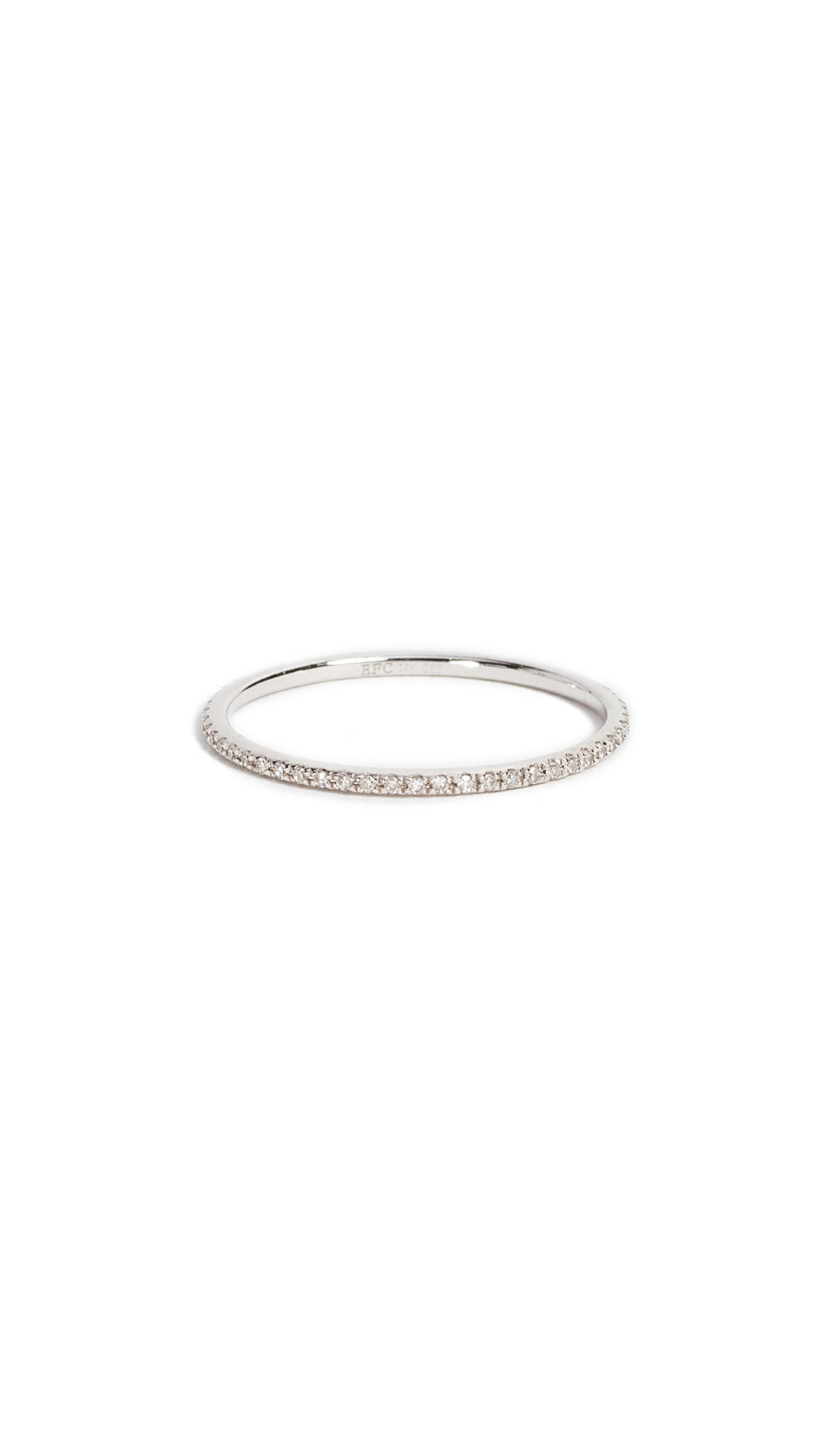 EF Collection Women's Diamond Eternity Stack Ring, White Gold/Clear, 6 by EF Collection