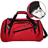 SIYUAN Womens Gym Bag, Water Resistant Duffel Bag Sports Duffle Bag with Shoe Compartment,Red,Medium