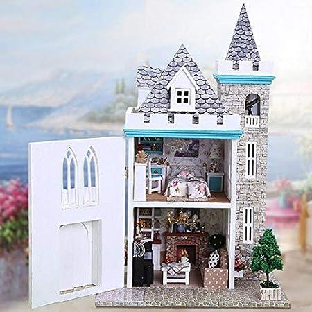 BeesClover Miniatura DIY Casa de Muñecas Wodden Miniatura Castillo Casas de Muñecas Kit Muebles Adorno Juguetes Hechos A Mano para Niños Regalo de la Muchacha k012 Show