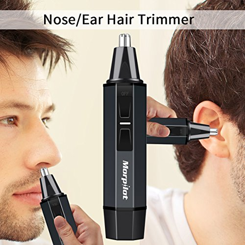 Morpilot Ear Nose Hair Trimmer for Men Professional Water Resistant Steel with Child Lock Switch LED light Battery-Operated + Manicure Set,for Father Gift