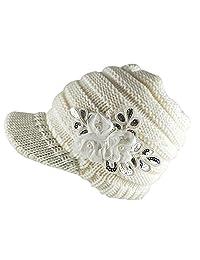 Leier Korean Style Women Winter Warm Flower Knit Hat Beanie Snow Ski Caps With Visor