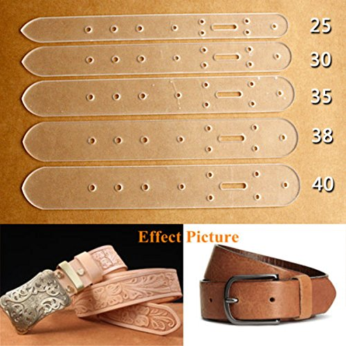 KINGSO 5 pcs Acrylic Leather Craft Belt Billet Buckle Head End Templates Tool ()