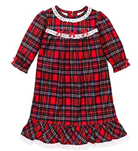 little me little girls' christmas pajamas -red plaid nightgown (12 months)