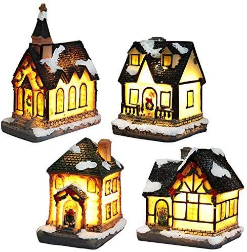 Villaggio Natalizio Luminoso, Casette In Miniatura Natale Accessori Da Costruire Led Luci Decorazioni Natalizie Shabby Chic Fai Da Te (4 pezzi, 4 * 6.5 * 9 cm)