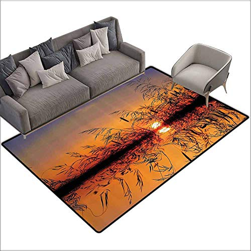 Designed Kitchen Bathroom Floor Mat Colorful Nature Decor,Lake Sunset with Long Reeds Romantic Botanical Ombre Like Scenery Photo Image,Multicolor 80