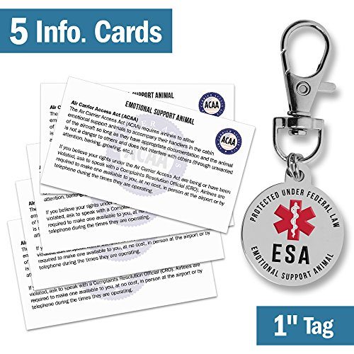 Emotional Support Dog ESA Tag - 1 Small Breed Pet ID Tags w/ 5 Info Cards - Premium Double Sided Medical Alert Symbol - Working Service Animal Protected by Federal Law - Attach to Collar Harness Vest
