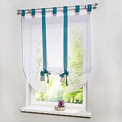 ANITYSO 1 Pcs Liftable Roman Shades Voile Sheer Window Screen Balloon Curtain Vertical Panel Drape Blinds