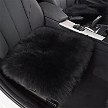 """S-ssoy 18"""" Sheepskin Car Cushion, Genuine Australian Sheep Skin Seat Covers Chair Pad Super Soft Thick Natural Fur Wool Seat Cover Non Slip Backing for Automobile Office Home (Pack of 1, Black)"""
