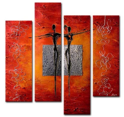 Sangu 4-Piece 100% Hand Painted Maiden Dance Oil Paintings Gift Canvas Wall (Buy Bob Ross Painting Original)