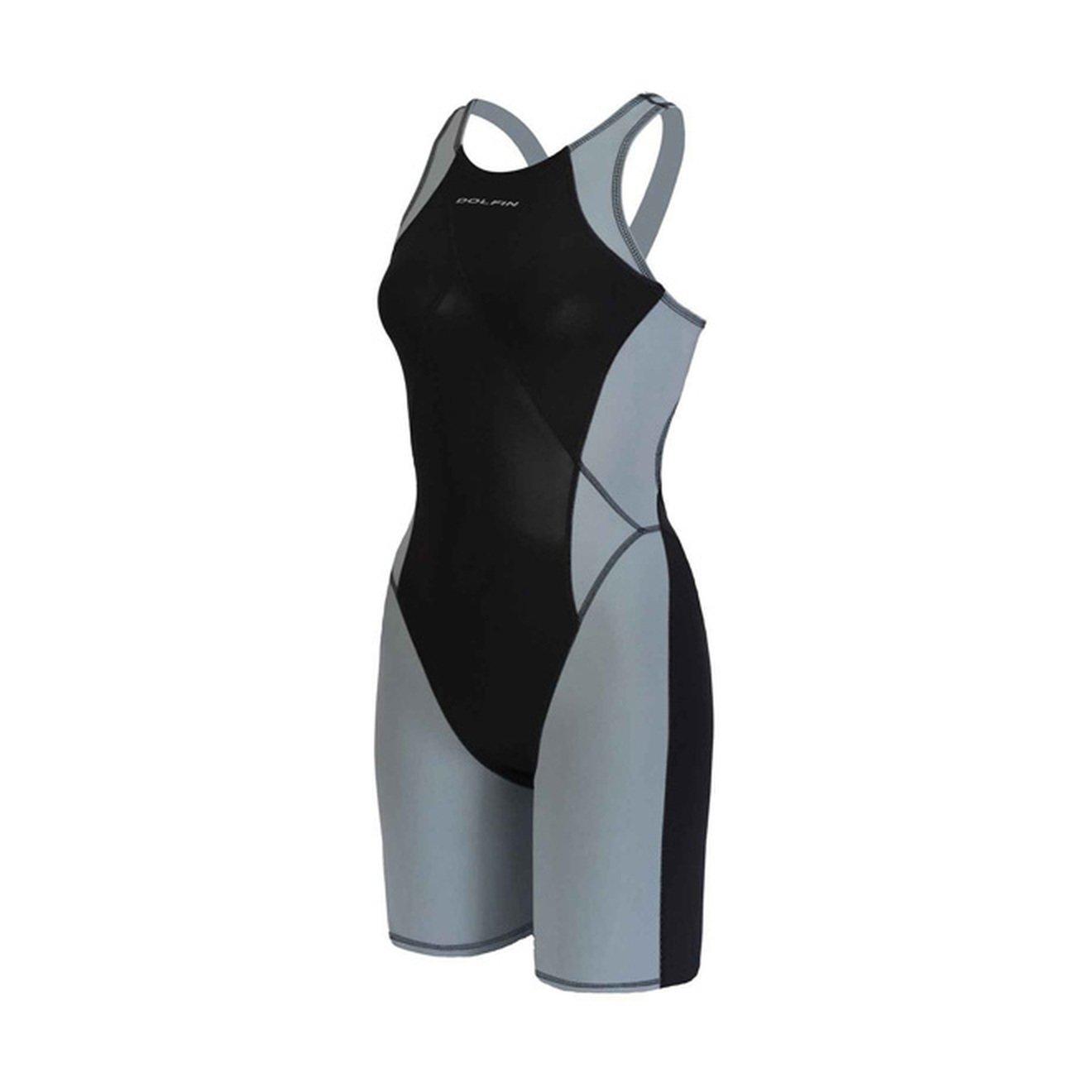 Dolfin Championship Suits DOLFIN Womens Platinum2 Color Knee Suit 7146P-BLK-SILVER-26