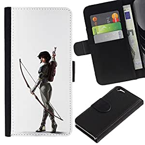 Billetera de Cuero Caso del tirón Titular de la tarjeta Carcasa Funda del zurriago para Apple Iphone 6 4.7 / Business Style White Archer Butt Sexy Woman Arrow