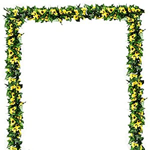 EZCLASSY-Artificial Flower Rose Vine Garland 8FT/Piece Realistic Artificial Flowers Fake Roses Flowers Plants for Home Kitchen Wedding Party Garden Craft Art Decor 58