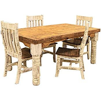 Bon 6u0027 Rough Cut White Distressed Rustic Dining Room Set