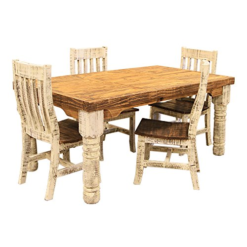 6' Rough Cut White Distressed Rustic Dining Room Set