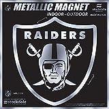 "Oakland Raiders 6"" MAGNET Silver Metallic Style Vinyl Auto Home Football"