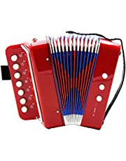 Homyl Piano Accordion, 7-Key Keyboard Piano with 2 Bass Button, Adjustable Shoulder Strap, Kid Instrument for Early Childhood Development