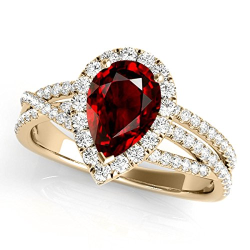 2.15 Ct. Ttw Diamond and Pear Shaped Garnet Ring in 10K Yellow (Pear Shaped Garnet Ring)