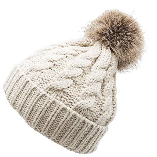 Bienvenu Toddler Kids Knit Winter Warm Crochet Pom Pom Beanie Hat,Beige Stlye 2,One Size]()
