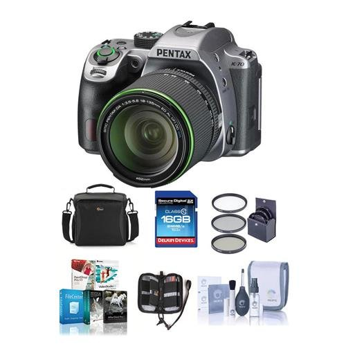 Pentax K-70 24MP Full HD DLR Camera with SMC DA 18-135mm f/3.5-5.6 ED AL DC WR Lens, Silver – Bundle with 16GB SDHC Card, Camera Bag, 62mm Filter Kit, Cleaning Kit, Memory Wallet, Software Package Review