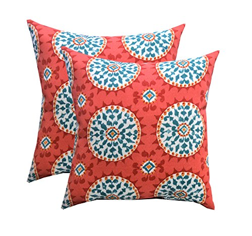 """RSH DECOR Indoor Outdoor Set of 4 (2-17""""x17"""" Square and 20""""x12"""") Lumbar Toss Throw Pillows Weather Resistant - Red, Coral, Turquoise - Watermelon Sundial - Perfect for use both Indoors and Out! Give your Porch or Home an easy, quick, fresh makeover with our Decorative Pillows & Cushions! UV resistant, fade resistant, stain resistant fabric - Functional and easy way to update your Patio, Deck, Porch or Home Decor. - patio, outdoor-throw-pillows, outdoor-decor - 51FLUwIaSeL -"""