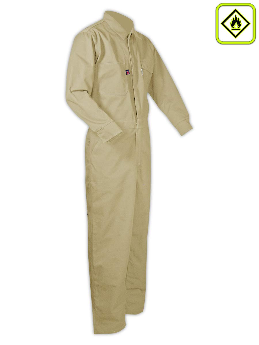 Magid Glove & Safety CBK65DHXXXXXL CBK65DH/CBN65DH Dual-Hazard 6.5 oz. FR 88/12 Contractor Coveralls, Khaki, 5XL, Flame Resistant Cotton Blend