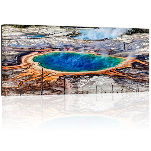 """Visual Art Decor Large 24""""x48"""" US Landmark Wall Art Grand Prismatic Spring in Yellowstone National Park Picture Gallery Wrap Ready to Hang for Modern Home Office Living Room Decoration (5 Yellowstone)"""