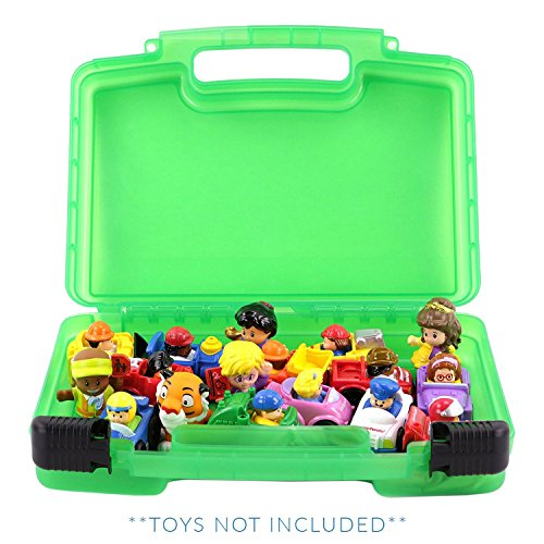 Life Made Better Little People Toy Storage Carrying Box, Mini Figure Organizer, Stores Figurines and Accessories, Green