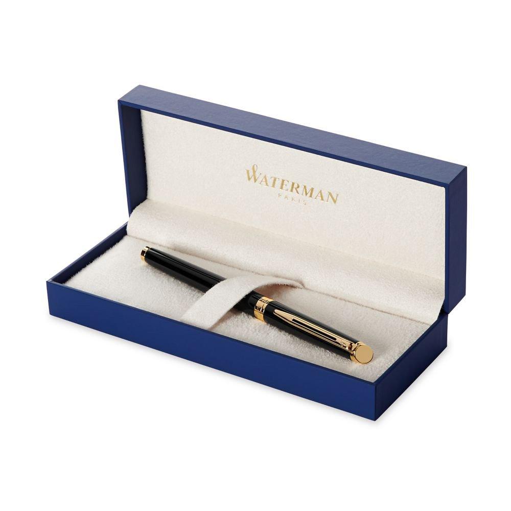 Waterman Hemisphere 2010: Matte Black GT Fountain Pen, Gold Trims, Gold Plated Medium Nib.