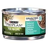 Purina Pro Plan Wet Cat Food, True Nature, Natural Grain Free Adult Trout & Salmon Entree, 3-Ounce Can, Pack of 24