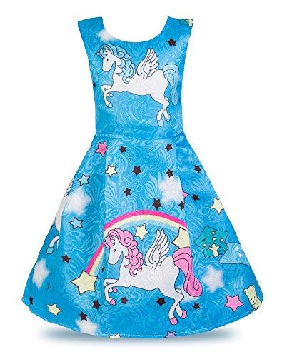 Wocau Little Girls Stars Unicorn Rainbow Dress Pageant Pleated Dress (Blue, 5-6 Years) ()