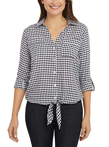 Jones New York Women's Front Tie Button Down Blouse Top (Baby Gingham Black, L)
