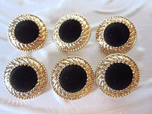 - 1'' Round Laurel Wreath - Velvet Center Button (6 pc) Gold - Black