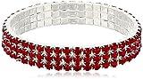 Best 1928 Jewelry Bracelets - 1928 Jewelry Three-Row Silver-Tone Siam Red Rhinestone Stretch Review