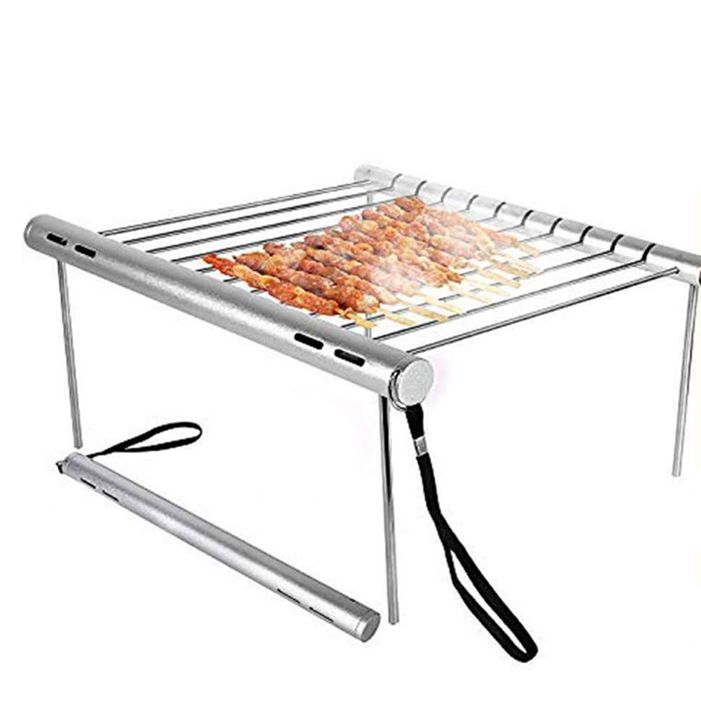 Aslion Portable Camping Grill Folding Mini Stainless Steel Barbeque Grill for Backpacking Backyards