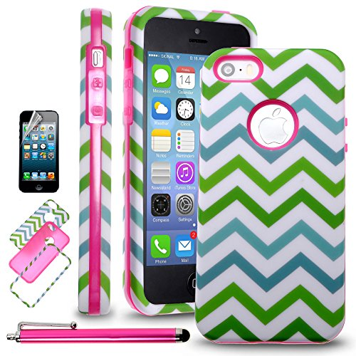 iPhone 5C Case, Kmall(TM) Brand New Cool Durable Hybrid 3-Piece Shockproof Bumper Hard Back Case Cover Compatible with Apple iPhone 5C[+Stylus+Screen Protector+Cloth] (Chevrons + Hot Pink)