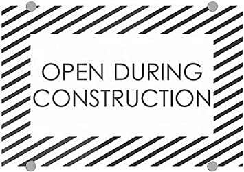 CGSignLab 18x12 Open During Construction 5-Pack Stripes White Premium Acrylic Sign