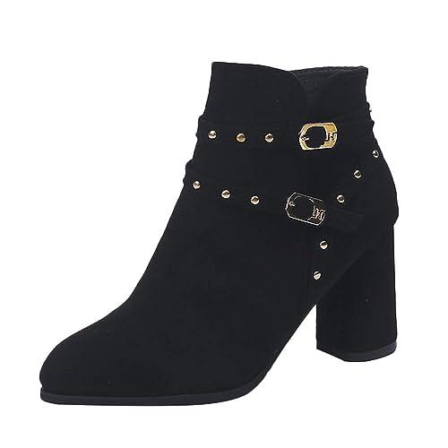 OHQ Martin Botines Ocio Flock Rivets Mujer Zip Flat Zapatos De TacóN Alto Color SóLido: Amazon.es: Zapatos y complementos