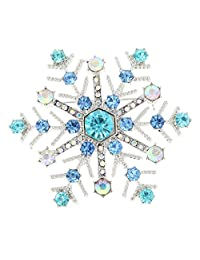 Shiny Bling Crystal Rhinestone Christmas Snowflake Brooch Pin Women Jewelry