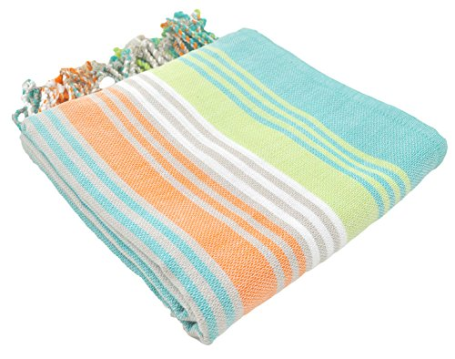 (InfuseZen Striped Colorful Turkish Towels in Orange, Purple, Aqua, Navy & Lime, Peshtemal Towels for Bath, Beach, Pool Spa, Yoga, Gym, 100% Cotton Thin & Absorbent Towel, Large Hammam Towels (Mint))