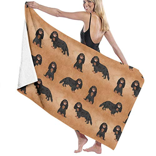 Cavalier King Charles Spaniel Watercolor Texture Black and Tan Dog Breeds Brown Beach Towels for Women Large Microfibre Beach Blanket Towel for Kids 32 X 52 Inch