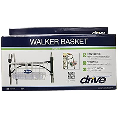 Drive Medical Walker Basket, White, with plastic cup holder