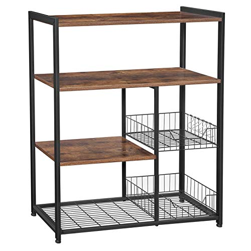 VASAGLE ALINRU Kitchen Baker's Rack, Industrial Kitchen Shelf with 2 Mesh Baskets and 6 Hooks, Microwave Oven Stand…