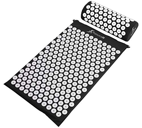 ProSource Acupressure Mat and Pillow Set for Back/Neck Pain Relief and Muscle Relaxation, Black
