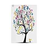 Polyester Garden Flag Outdoor Flag House Flag Banner,Mathematics Classroom Decor,Art Tree with Colorful Numbers Math Symbols Fun Kids Drawing Decorative,Multicolor,for Wedding Anniversary Home Outdoor