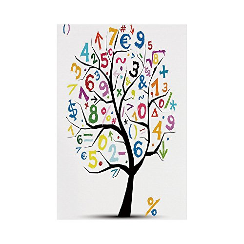 Polyester Garden Flag Outdoor Flag House Flag Banner,Mathematics Classroom Decor,Art Tree with Colorful Numbers Math Symbols Fun Kids Drawing Decorative,Multicolor,for Wedding Anniversary Home Outdoor by iPrint