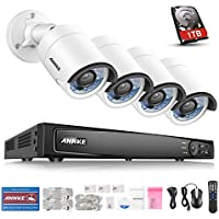 ANNKE Professional POE 8CH 6.0MP NVR Recorder with 1TB Surveillance Hard Disk Drive Pre-installed and (4) 4.0MP 2688x1520p CCTV Weaterproof Network IP Cameras, 100ft Super Night Vison