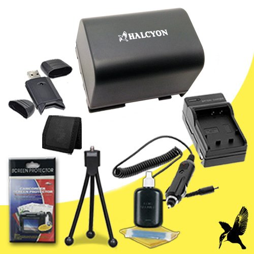 Halcyon 1300 mAH Lithium Ion Replacement BP2L12 Battery and Charger Kit + Memory Card Wallet + SDHC Card USB Reader + Deluxe Starter Kit for Canon Elura 40MC MiniDV Digital Camcorder and Canon BP-2L12 by Halcyon